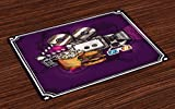 Ambesonne Modern Place Mats, Cartoon like Cinema Movie Image Burgers Popcorns Glasses Watching Film, Washable Fabric Placemats for Dining Room Kitchen Table Decor, Purple Earth Yellow