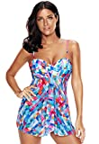 HUAXIU Womens Plus Size Printed Tankini Set Split Flare Top Swimsuit with Bikini Bottom (5XL, Mutilcolor)