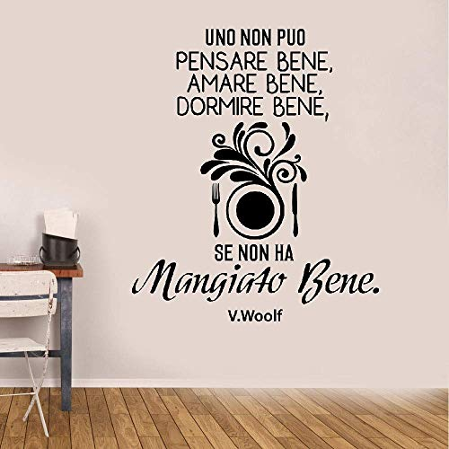 Wall Decal Wall Written Vinyl Wall Decals Quotes Sayings Words Art Deco Lettering Italian Quote Uno Non Puo Pensare Bene Amare Bene Dormire Bene Se Non Ha Mangiato Bene for Kitchen Dining Room