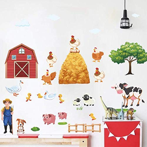 JQSM Cartoon DIY Farm Animals Wall Stickers for Living Room Bedroom Duck Pig Hen Cows Tree Wall Decals Poster Mural 1206Cm80Cm