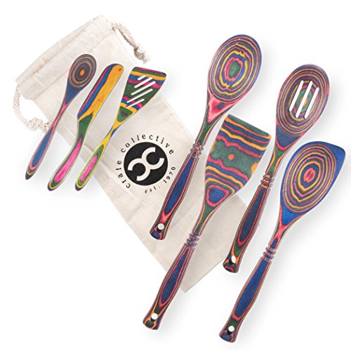 Island Bamboo - Utensil set (7 piece) Fun Kitchen Utensils from Natural Pakka-wood with Colorful Wooden Cooking Serving Spoons [Regular, Corner, Small, Slotted Spoon] Spatula, Turner, Spreader [by Crate Collective]