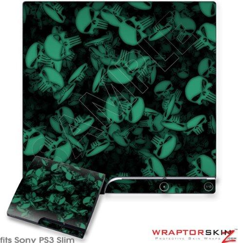 Sony PS3 Slim Skin - Skulls Confetti Seafoam Green by WraptorSkinz Confetti Thin