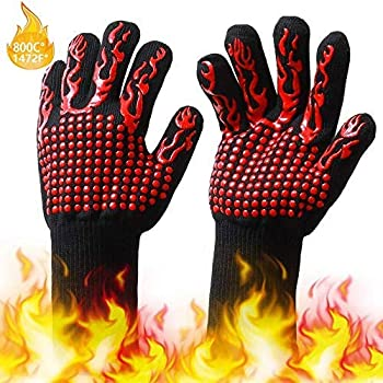 FOONEE BBQ Gloves, 1472℉ Heat Resistant Grill Gloves, Double Sided Silicone Oven Gloves, Non-Slip Cooking Grill Gloves for Cooking, Kitchen, Baking, Fireplace, Grilling, 1 Pair