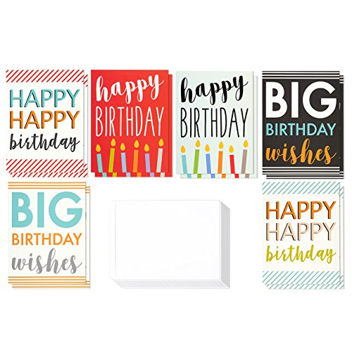 12 Pack Jumbo Big Happy Birthday Greeting Cards Assortment - Bulk Box Set - 6 Assorted Unique Multicolor Designs - Envelopes Included, 8.5 x 11 Inches