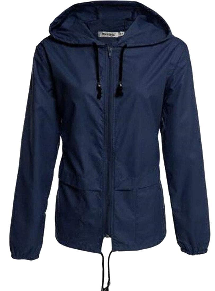 Zantt Womens Waterproof Lightweight Solid Hood Outdoor Hiking Rain Jacket