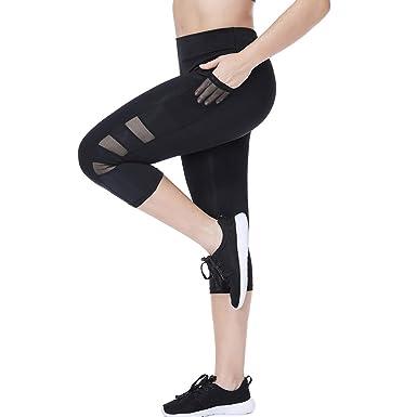 52419eba92de3 Joyshaper High Waist Cropped Leggings with Pockets for Women Black Workout  Mesh Capri Yoga Pants Gym