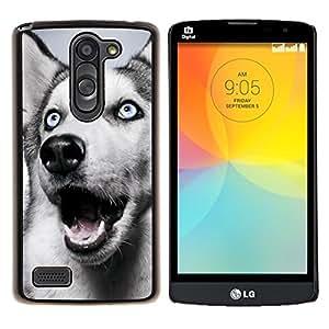 YiPhone /// Prima de resorte delgada de la cubierta del caso de Shell Armor - Husky siberiano Blue Eyes White Dog - LG L Prime D337 / L Bello D337