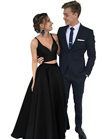 Harsuccting Two Piece Spaghetti Strap V-Neck Satin Prom Dress With Pocket Black 2