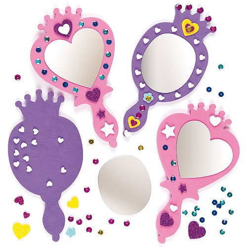 Mirror Craft Kit - Princess Foam Mirror Kits Self Adhesive Mirror & Foam Decorations, Children's Craft Activity (Pack of 4)