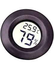 Asien Reptile Thermometer Black Round LCD Display Hygrometer Temperature Meter Terrarium Tank Vivarium Gauge Tester