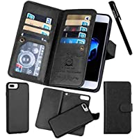 for iPhone 7 Plus / 8 Plus (5.5), Urvoix Wallet Leather Flip Card Holder Case, 2 in 1 Detachable Magnetic Back Cover iPhone 7PLUS / 8 Plus (NOT for iPhone7) Black