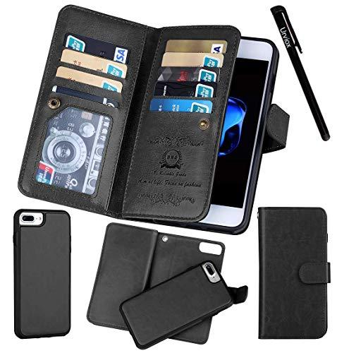 (for iPhone 7 Plus / 8 Plus (5.5''), Urvoix Wallet Leather Flip Card Holder Case, 2 in 1 Detachable Magnetic Back Cover iPhone 7PLUS / 8 Plus (NOT for iPhone7) Black)
