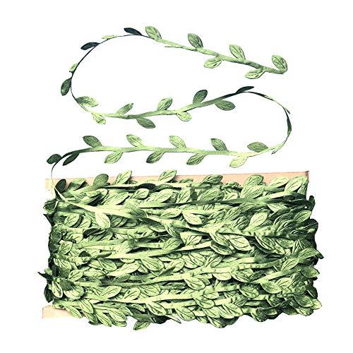 Leaf Trim 130 Feet Leaf Ribbon Fake Vine Hanging Decoration Packaging String Gift Wrapping Ribbon for Wedding Party (Leaf Trim)