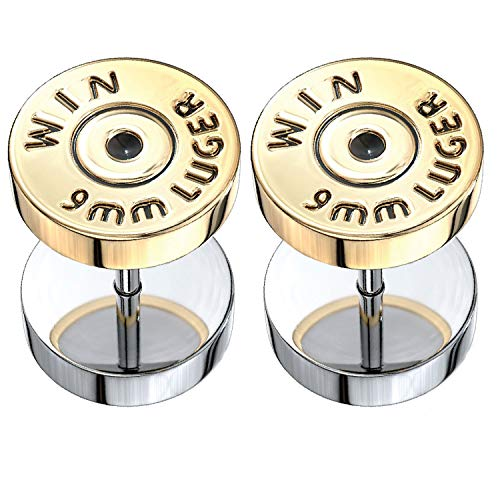 BodyJ4You Fake Ear Plugs Bullet Goldtone Steel Stud Earrings Cheater Faux Gauges 00G Look Unisex -