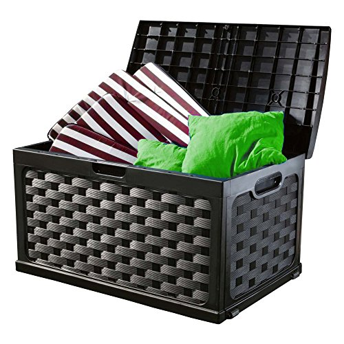 Outdoor Storage Deck Box 71 Gal. Patio Rattan Wicker Yard Organizing Container 46''L in Black Color by St/st