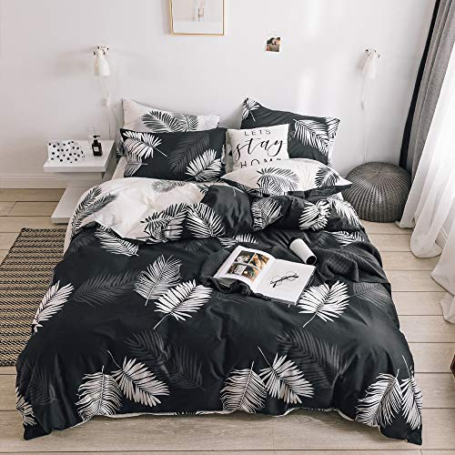 VM VOUGEMARKET Leaves Duvet Cover Queen,100% Cotton Reversible Charcoal Gray Tropical Bedding Set,Feather Comforter Cover with Zipper Closure