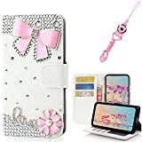 EVTECH Galaxy S7 Active Case with Lanyard Neck Strap, [Stand Feature] Butterfly Crystal Wallet Case Premium [Bling Luxury] Leather Flip Cover [Card Slots] For Samsung Galaxy S7 Active