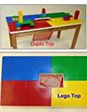 DUPLO OR LEGO COMPATIBLE PLAY TABLE WITH STORAGE POCKET & SOLID OAK WOOD LEGS AND FRAME - BUILT TO LAST--MADE IN USA.