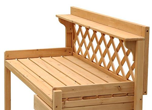go2buy Wood Potting Bench Outdoor Garden Planting Work Station Table Stand Natural Finish by Gotobuy (Image #4)