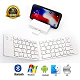 PFCKE Folding Bluetooth Keyboard,Ultra Slim Pocket Full Size,Rechargeable Portable Folding Bluetooth Keyboard for iOS/Android / Windows,IPad Smartphones Tablets,with Business Trips.