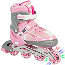 Best Choice Products Adjustable Kid Inline Skates Roller Blades Iluminating Wheel Outdoor Sport