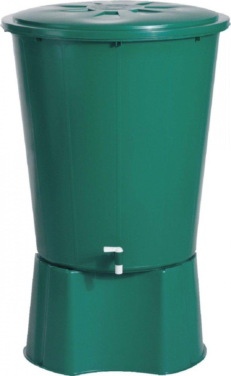 Dreams4Home Regentonne - Wassertank, Regenfass, Regenwassertank, Regensammler, Garten, Balkon, Terrasse, Ø x H: 77 x 79 cm, 210 L, rund, in grün, Größe:310 Liter