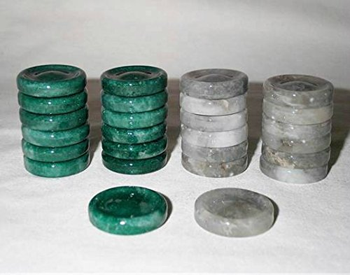 Khan Imports Quality Stone Checkers Pieces, Replacement Checker Pieces Only - Green and Gray, 1 1/4 Inch by Khan Imports