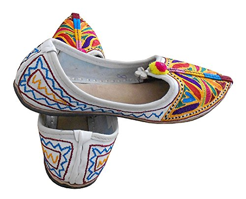Chaussures traditionnel Creations cuir de indien ethnique femme pour en Multicoloured kalra BwRq5Xq