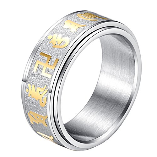 PAURO Men's Stainless Steel Buddhist Mantra Om Mani Padme Hum Spinner Ring Band Silver Sandblast Size 10
