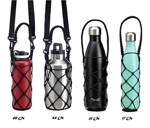 Bottle Carrier Crafted Net Holder, Paracord Handle for Hydro Flask, Swell, Mira RTIC, KINGSO and Other Cola Shaped Water Bottles Stylish, Hand Crafted Net Handle for 40oz (Nets Water Bottle)