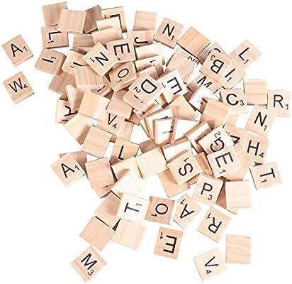Amazon Com Healifty 100pcs Wood Scrabble Letter Tiles Craft