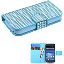 Asmyna Book-Style MyJacket Wallet with Card Slot for ZTE Warp - Retail Packaging - Light Blue Diamonds