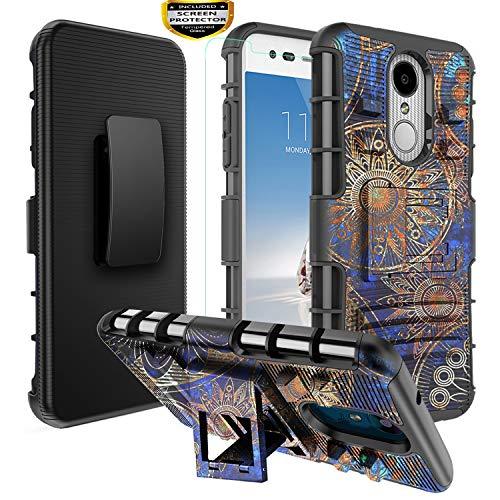 LG Aristo 3 Case,LG Aristo 2 Case/LG Aristo 2 Plus/Rebel 4 LTE/Tribute Empire/Phoenix 4/Zone 4/K8 2018/ K8 Plus/Fortune 2 Case, Armor Rugged Case Belt Clip Holster/Glass Screen Protector,Gear/Wheel