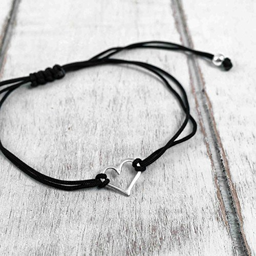 [Sterling Silver 925, Heart Shaped Charm Bracelet, Adjustable Thread Cord, Color Black, Friendship Bracelet, Handmade in Peru by Claudia Lira. Great for Sets. - READY TO ORDER] (Hearts Costumes Shoe)