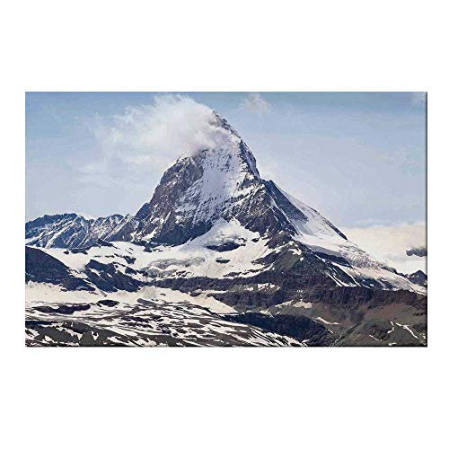 (YOLIYANA Farmhouse Decor Durable Door Mat,Matterhorn Summit with Cloud Mountain Scenery Glacier Natural Beauty for Home Office,17.7