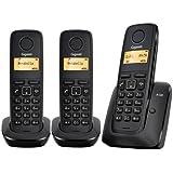 Siemens Gigaset A120 Trío - Teléfono fijo inalámbrico (plug & play, ECO DECT), color negro