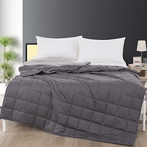 Cheap SAIWER Adult Weighted Blanket 15 lbs Cool Heavy Blanket | 100% Cotton Fabric with Glass Beads | Breathable Weighted Blanket Grey Color 60