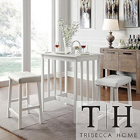 Kitchen Counter Height Dining Set Nova White 3-piece Bistro Style (White Bistro Dining Table)