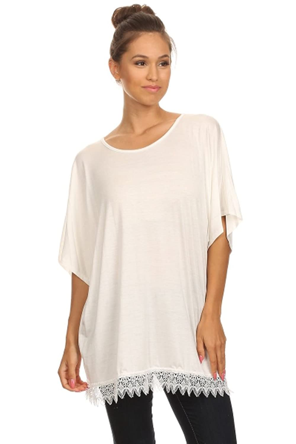 Trendyfriday Women's Plus Size Solid Top with Crochet Trim (B45-MA9-X)
