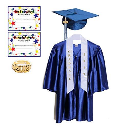 Medium Blue Shiny Preschool and Kindergarten Graduation Cap and Gown, Tassel and 2019 Charm