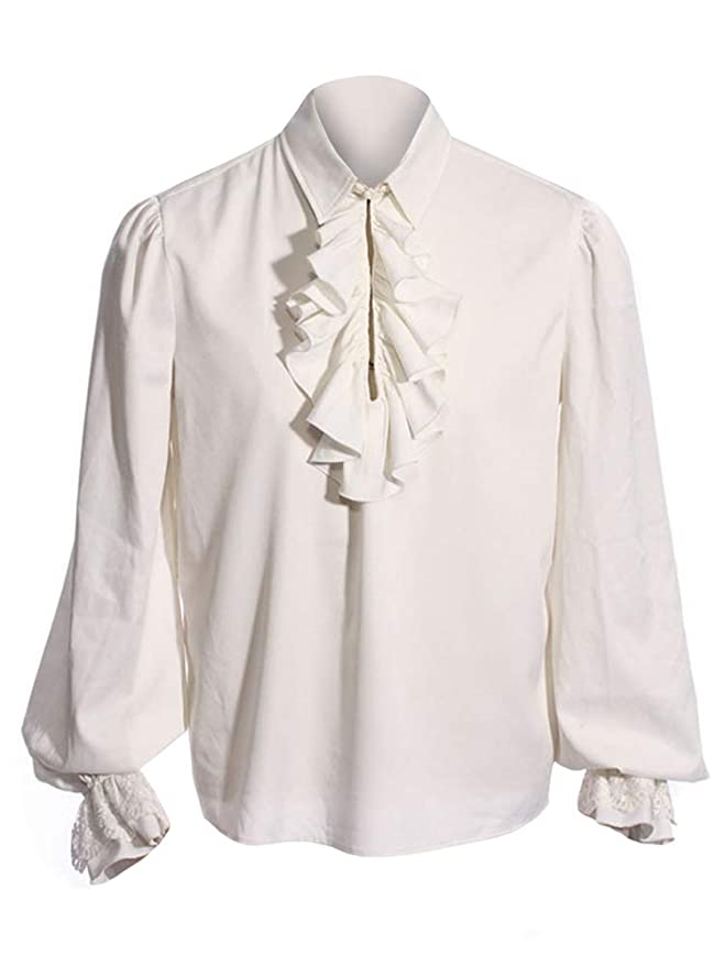 Steampunk Mens Shirts Bbalizko Mens Ruffled Gothic Shirts Steampunk Victorian Pirate Cosplay Costume Tops $25.89 AT vintagedancer.com