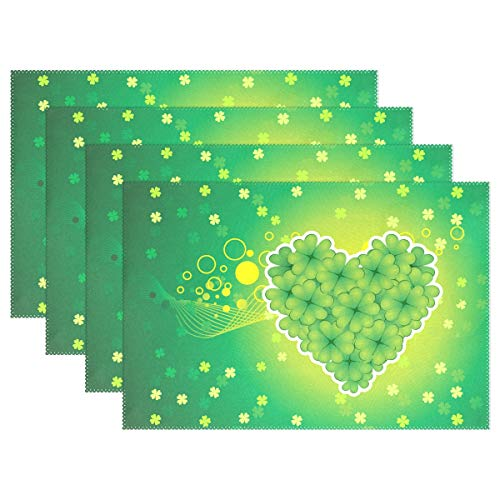 WIHVE Holiday Placemats Set of 4, St. Patrick's Day Shamrock Heart Table Place Mats Wipeable Heat Resistant Non-Slip for Kitchen Dining Table Decoration
