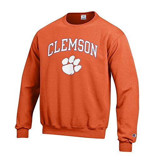 Elite Fan Shop NCAA Clemson Tigers Men's Team Color Crewneck Sweatshirt, Orange, Large
