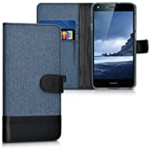 kwmobile Wallet case canvas cover for Huawei Y6 II Compact - Flip case with card slot and stand in dark blue black