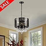 Delica Home 3-Lights Crystal Chandelier, Drum Shade Chandeliers, Antique Black Round Beaded