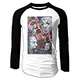 Horror Movie Character Halloween Black 80s Round Neck Two Tone T-Shirts