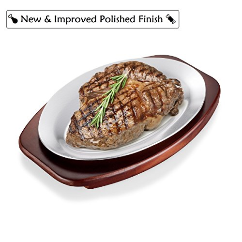 ChefGiant Sizzling Plate Steak Platter Set, 10 Inch Oval Aluminum with Wood Underliner Holder - Indoor & Outdoor Steak Pan Grill Server - Display Steak, Fish, Pizza, Baked or Grilled Goods