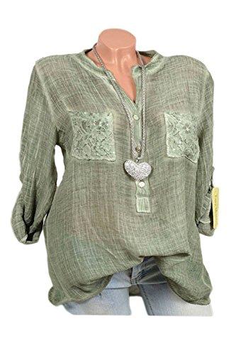 Shirt Green Dentelle T La Taille Longues des Et Rouler Dessus De La Manches De Chemisier RZpWw0