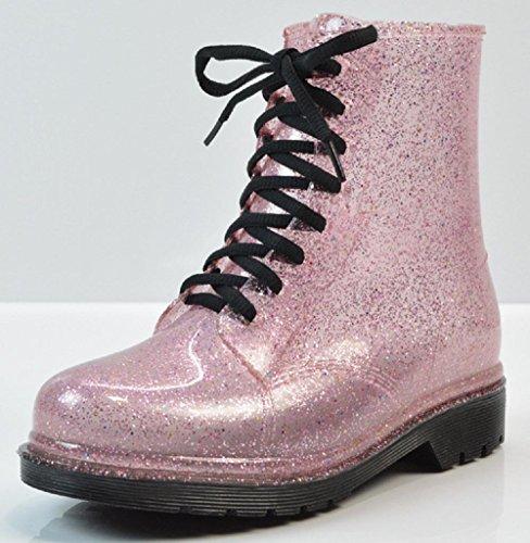 La trasparente stivali da Martin scintillio pioggia signora Pink stivali TUTwxSq76r
