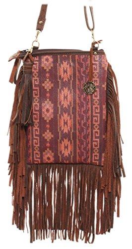 Double J Saddlery Women's Native Aztec Print Leather Pouch Purse PP42 Saddlery Print